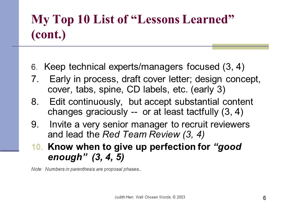 My Top 10 List of Lessons Learned (cont.)