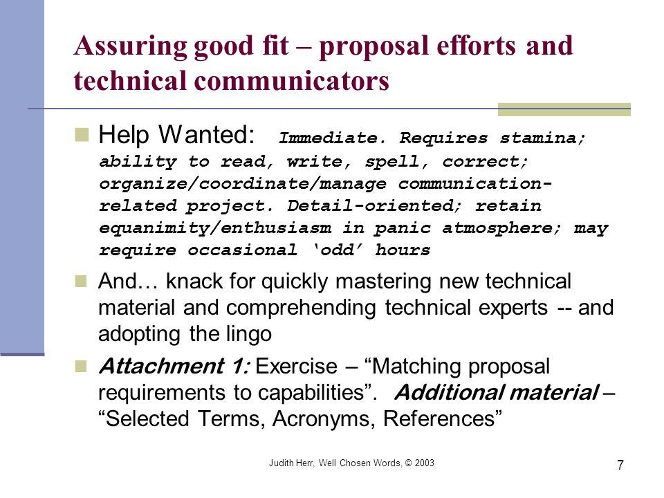 Assuring good fit – proposal efforts and technical communicators