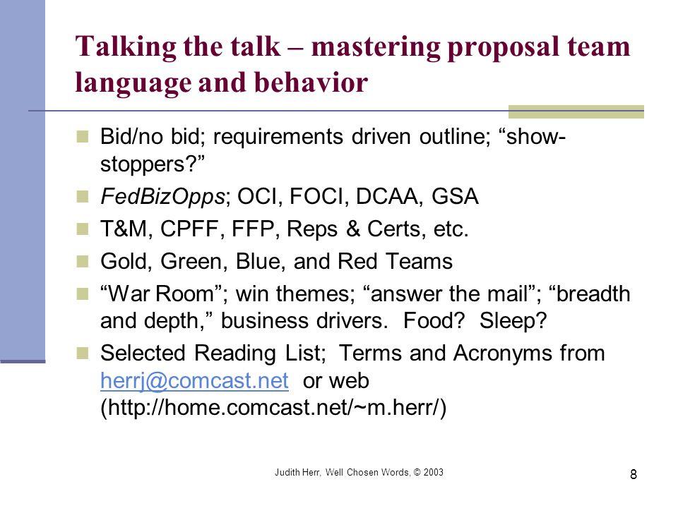 Talking the talk – mastering proposal team language and behavior