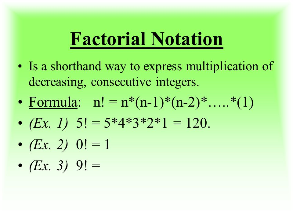 Factorial, Permutations, Combinations Week 6 TEST # 2 ...