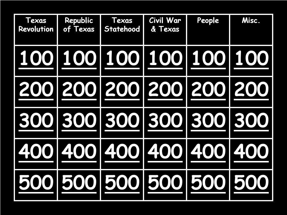 100 200 300 400 500 Texas Revolution Republic of Texas Texas Statehood