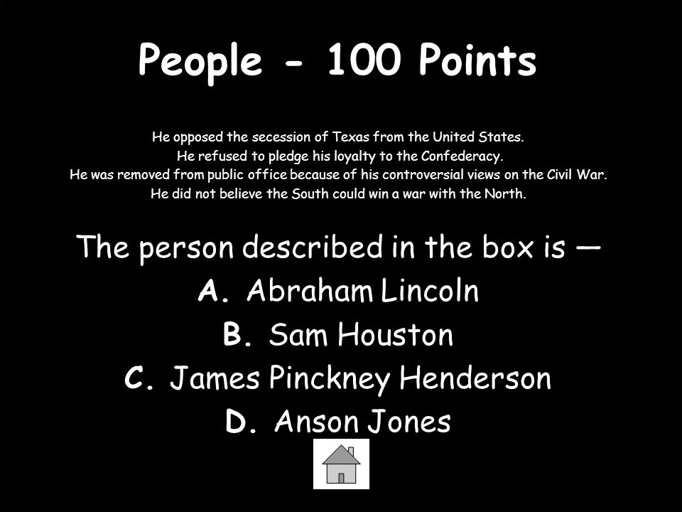 People - 100 Points The person described in the box is —