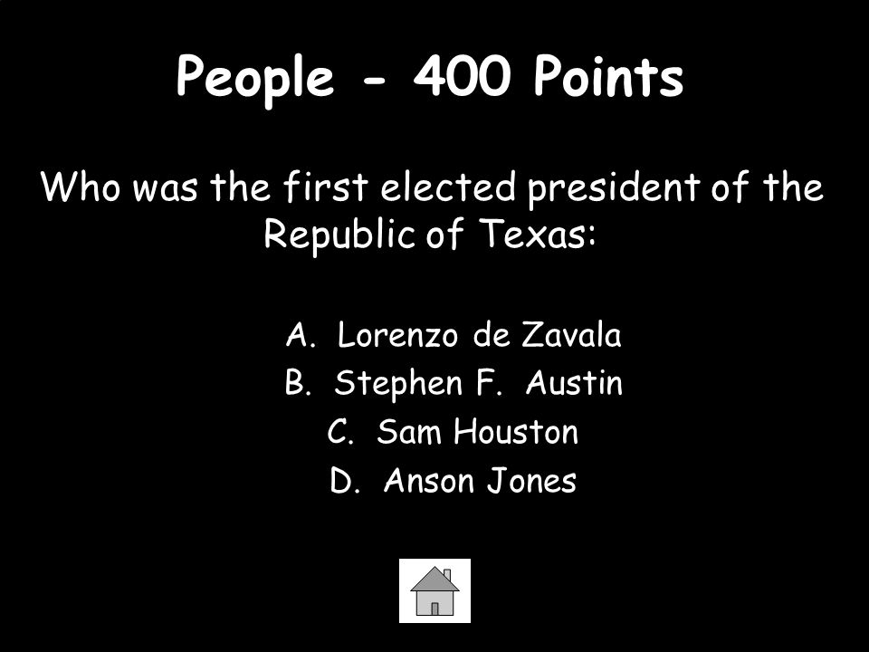 Who was the first elected president of the Republic of Texas: