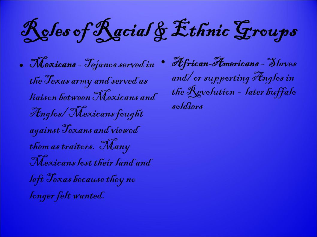 Roles of Racial & Ethnic Groups