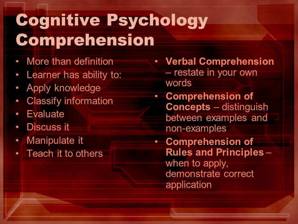 Cognitive Psychology Comprehension