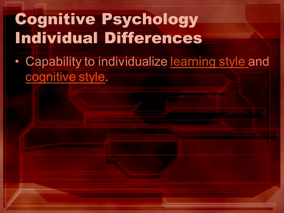 Cognitive Psychology Individual Differences