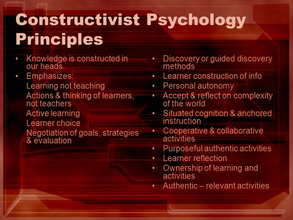 Constructivist Psychology Principles