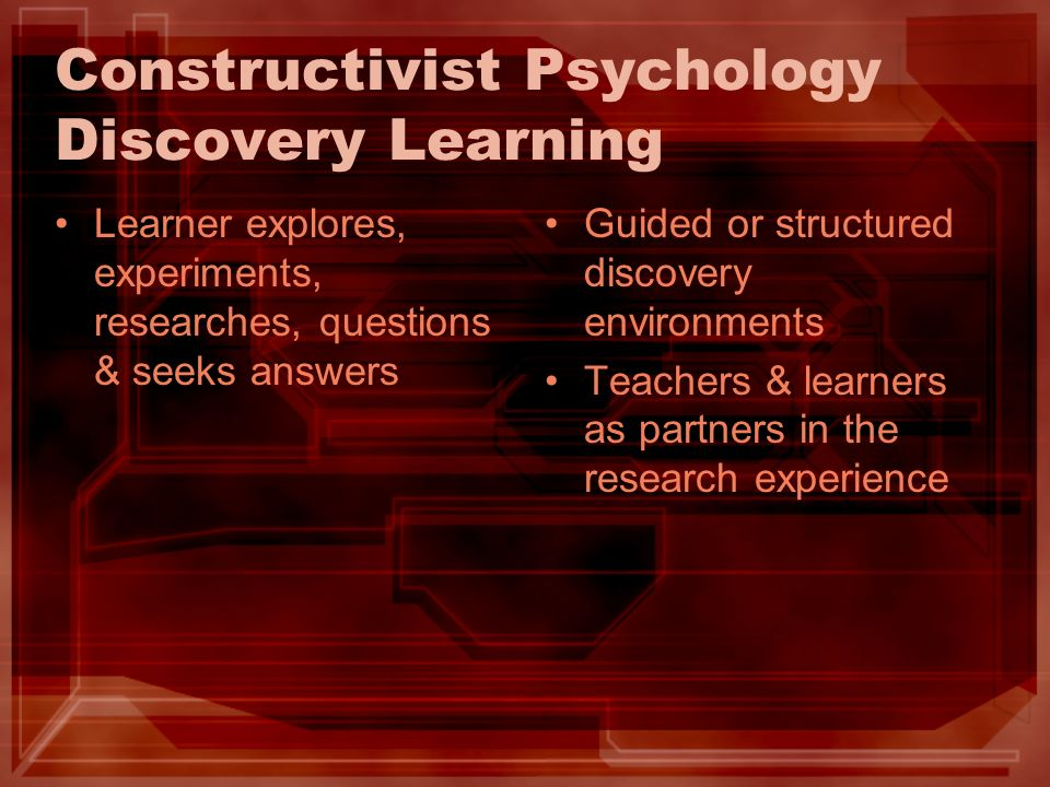 Constructivist Psychology Discovery Learning