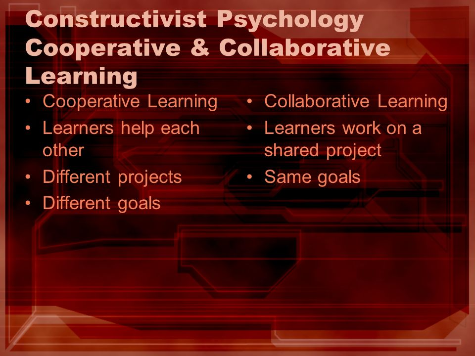 Constructivist Psychology Cooperative & Collaborative Learning