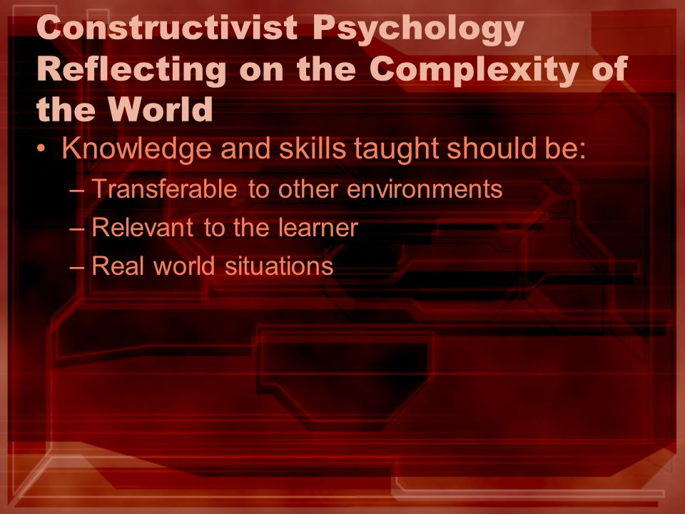 Constructivist Psychology Reflecting on the Complexity of the World