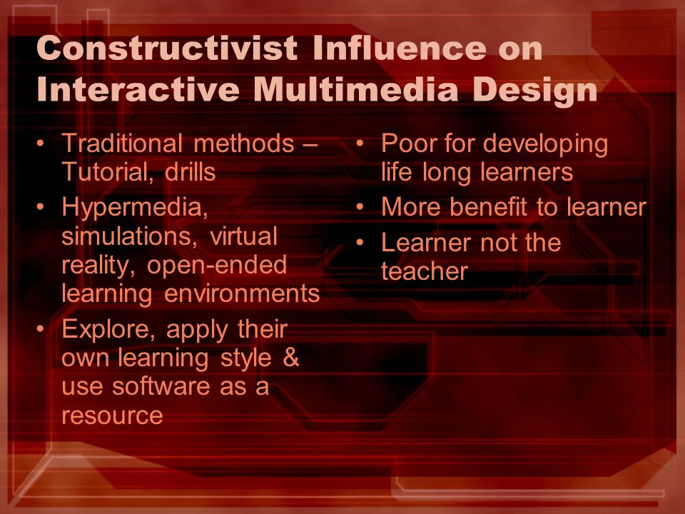 Constructivist Influence on Interactive Multimedia Design