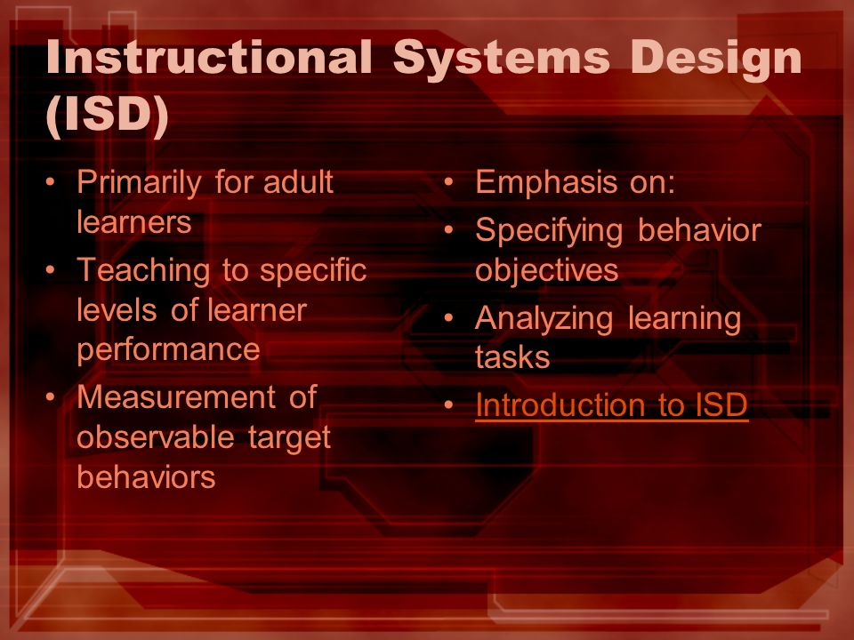 Instructional Systems Design (ISD)