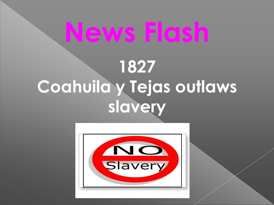 Coahuila y Tejas outlaws slavery