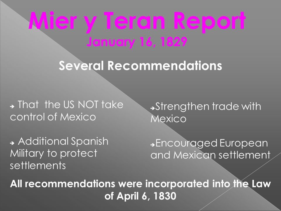 Mier y Teran Report January 16, 1829 Several Recommendations