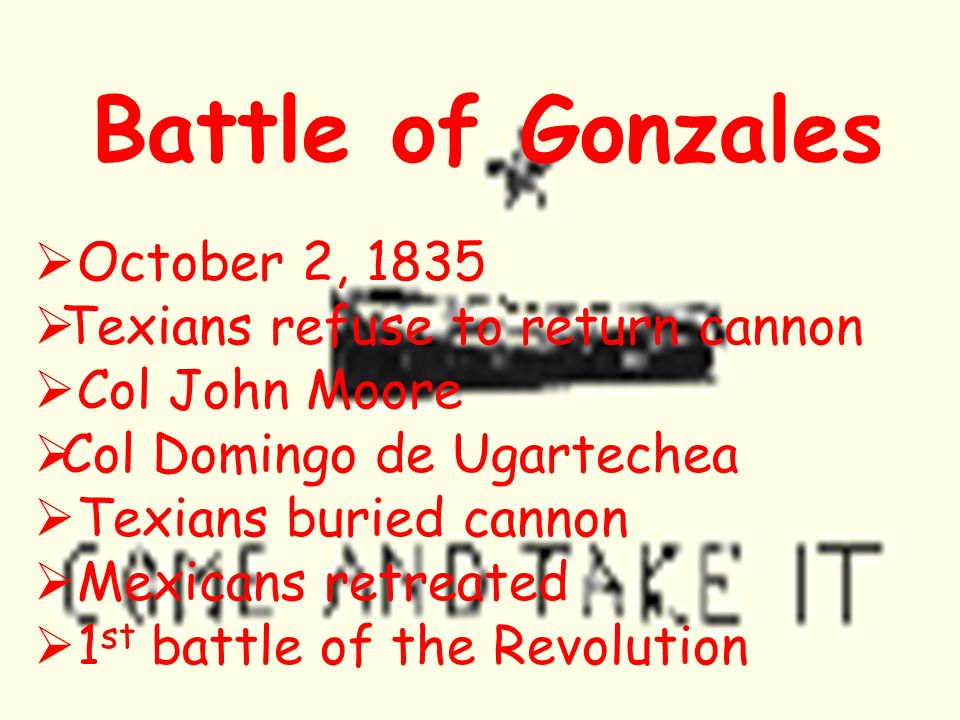Battle of Gonzales October 2, 1835 Texians refuse to return cannon