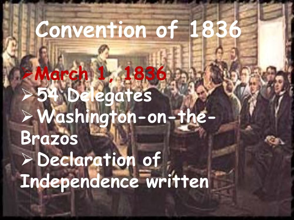 Convention of 1836 March 1, 1836 54 Delegates Washington-on-the-Brazos