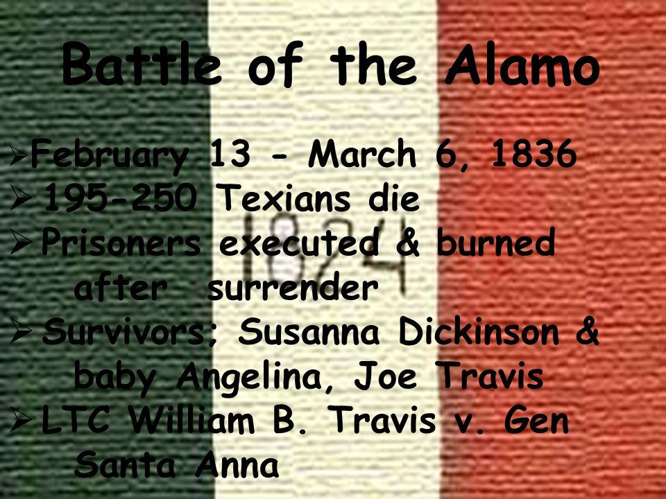 Battle of the Alamo 195-250 Texians die