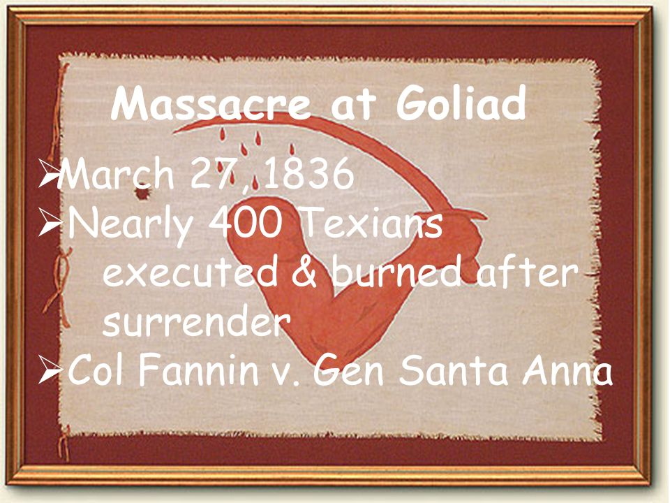 Massacre at Goliad March 27, 1836