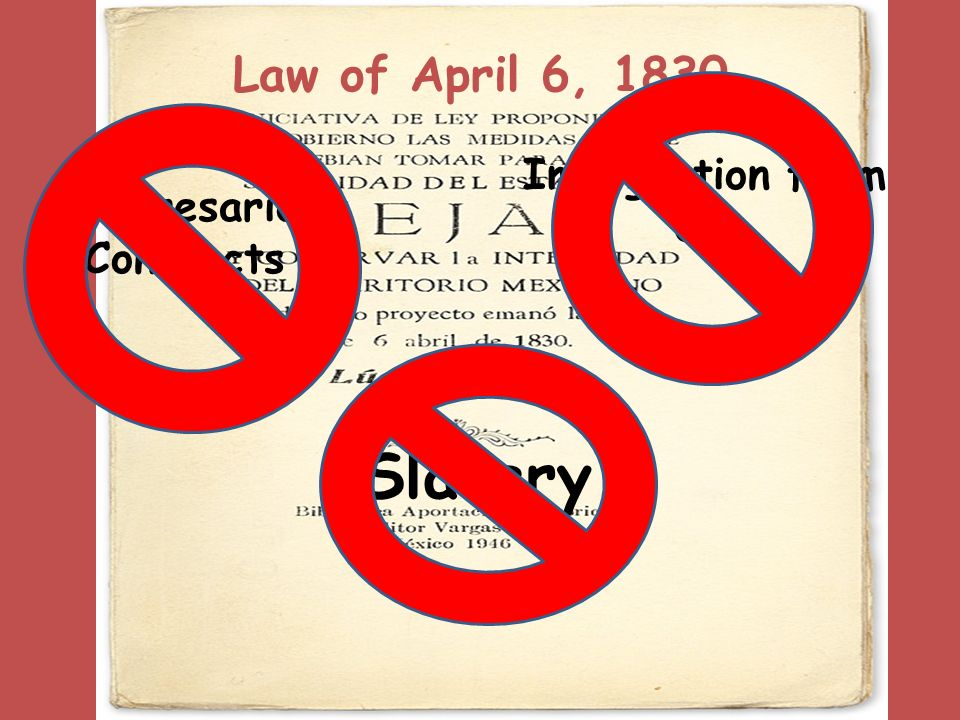 Law of April 6, 1830 Immigration from US Empresario Contracts Slavery