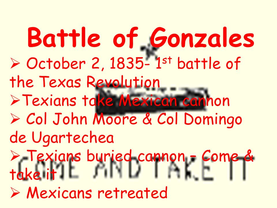 Battle of Gonzales October 2, 1835- 1st battle of the Texas Revolution
