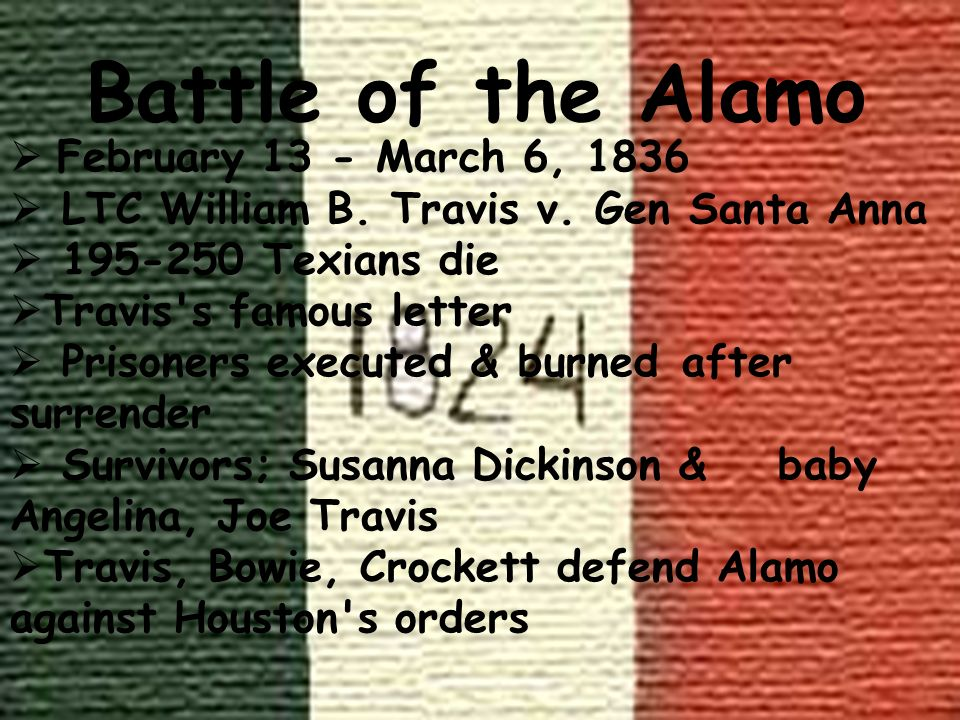 Battle of the Alamo February 13 - March 6, 1836