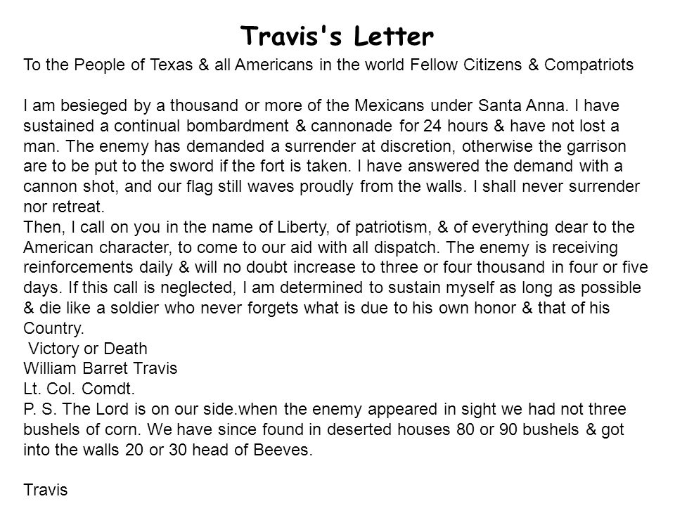 Travis s Letter To the People of Texas & all Americans in the world Fellow Citizens & Compatriots.