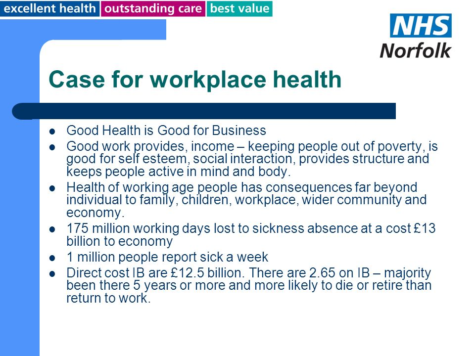 Case for workplace health