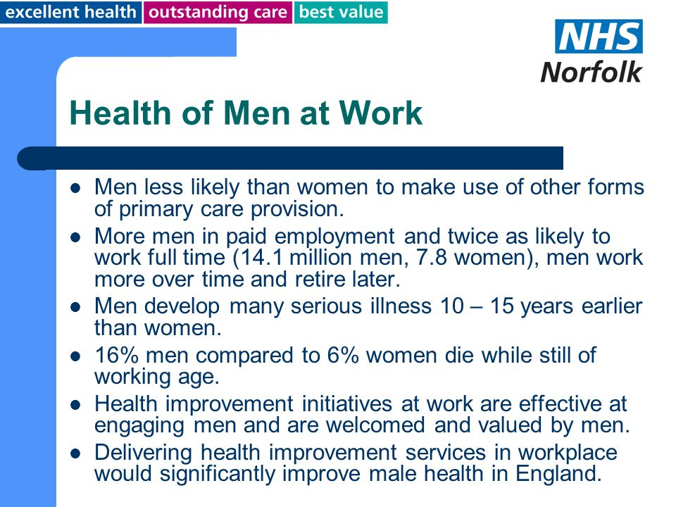 Health of Men at Work Men less likely than women to make use of other forms of primary care provision.