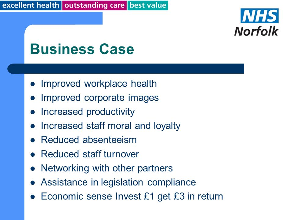 Business Case Improved workplace health Improved corporate images