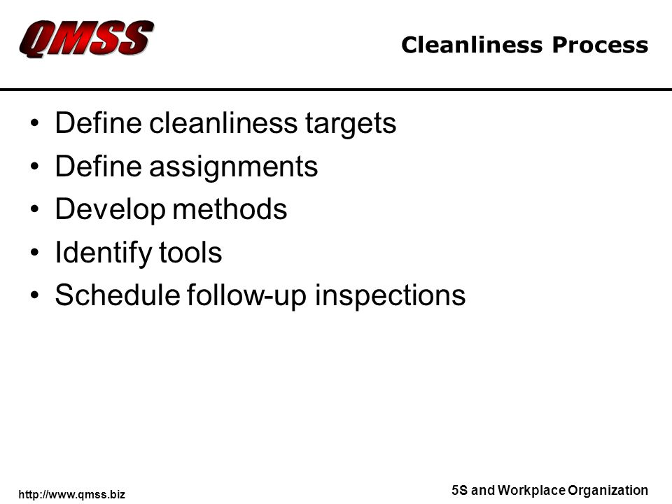 Define cleanliness targets Define assignments Develop methods