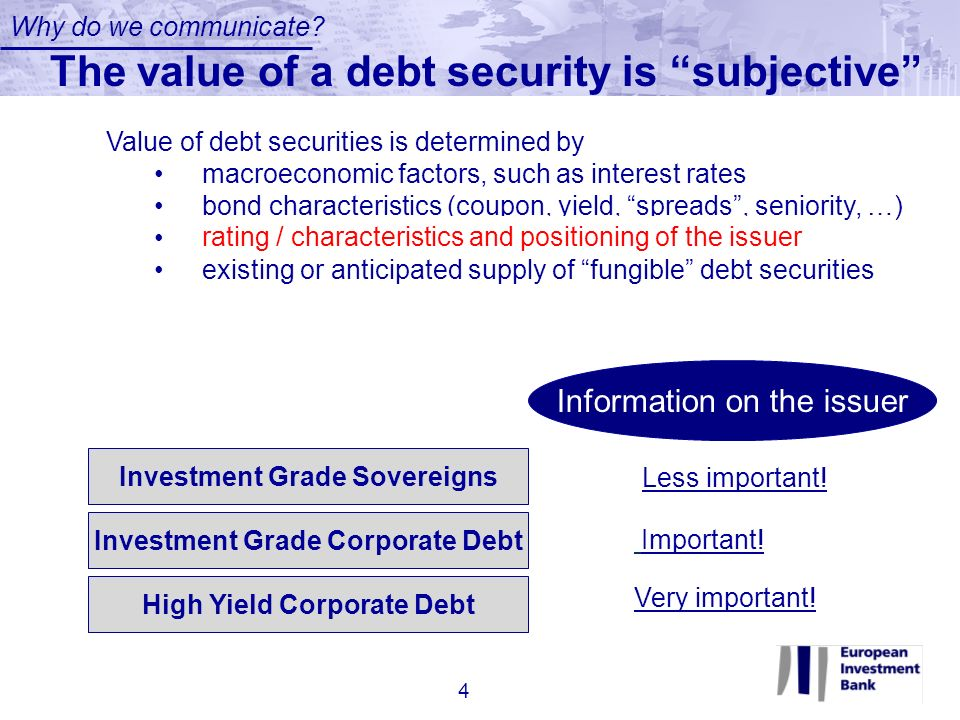 The value of a debt security is subjective