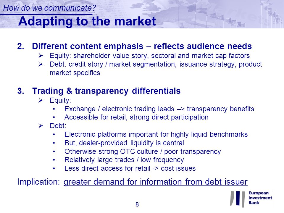 How do we communicate Adapting to the market. Different content emphasis – reflects audience needs.