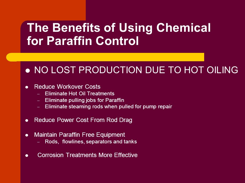 The Benefits of Using Chemical for Paraffin Control