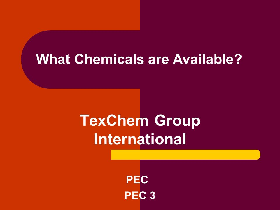 What Chemicals are Available