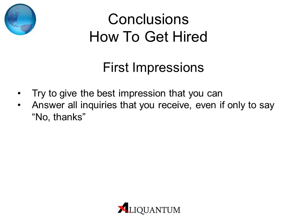 Conclusions How To Get Hired