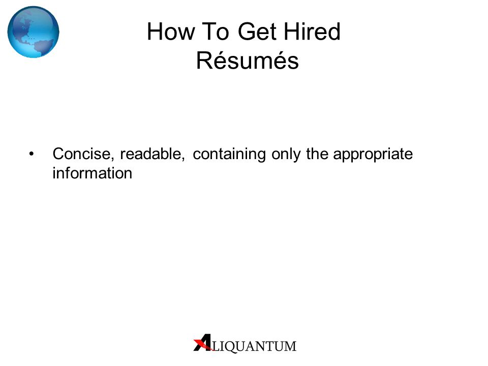 How To Get Hired Résumés