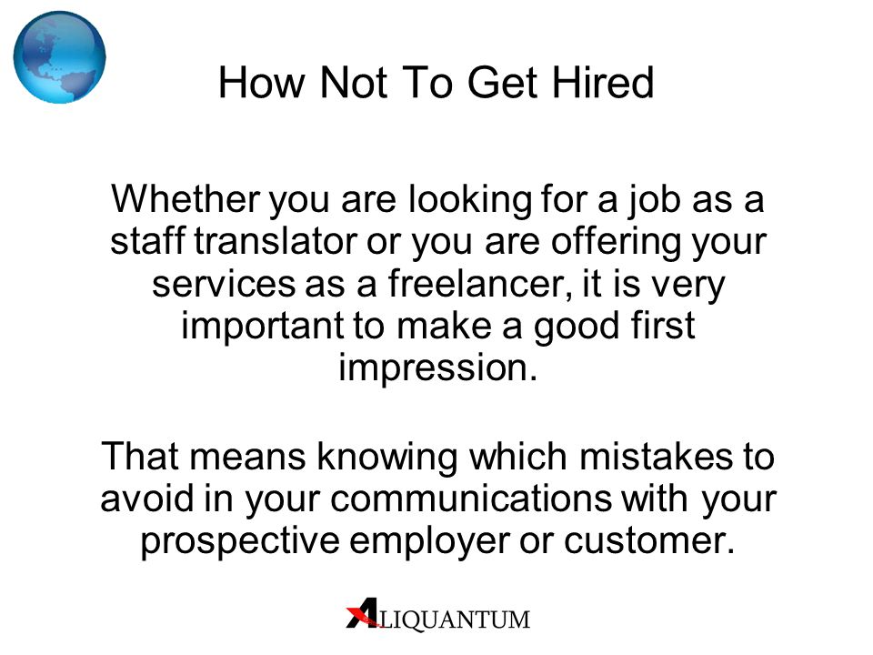 How Not To Get Hired