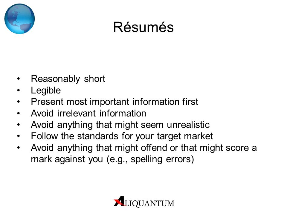 Résumés Reasonably short Legible