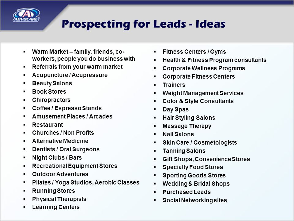 Prospecting for Leads - Ideas