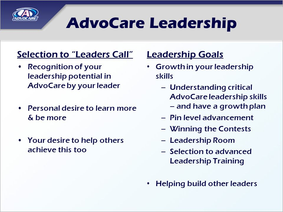AdvoCare Leadership Selection to Leaders Call Leadership Goals