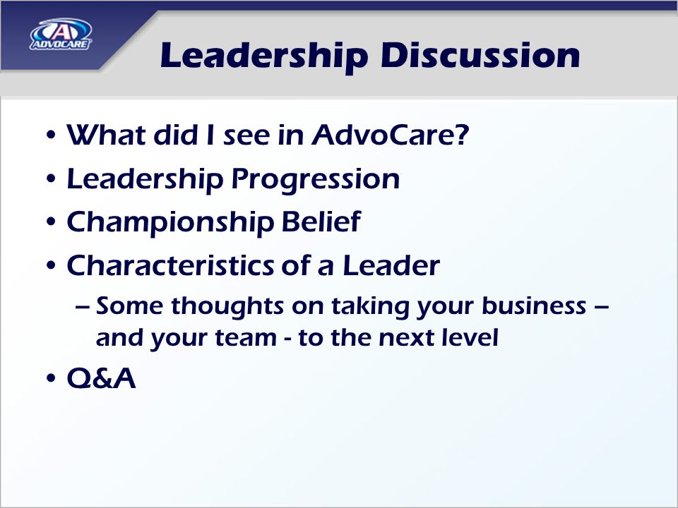 a discussion on leadership Questions to teach leadership and management leads to a nice discussion on situational leadership 5 think about the best leaders you have ever known.