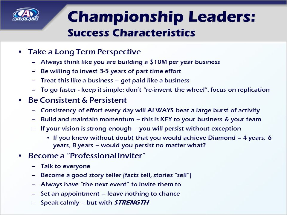 Championship Leaders: Success Characteristics
