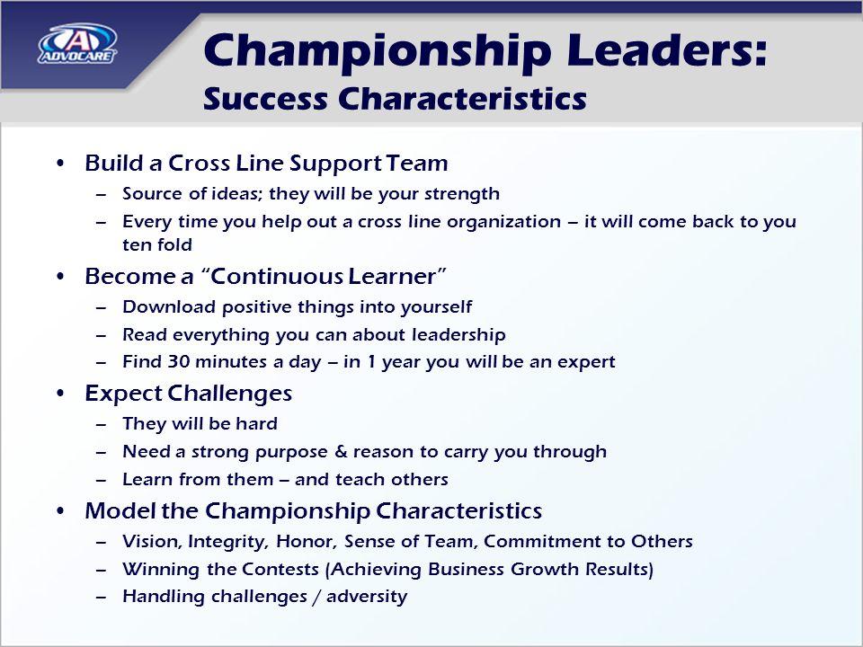 Championship Leaders: Success Characteristics