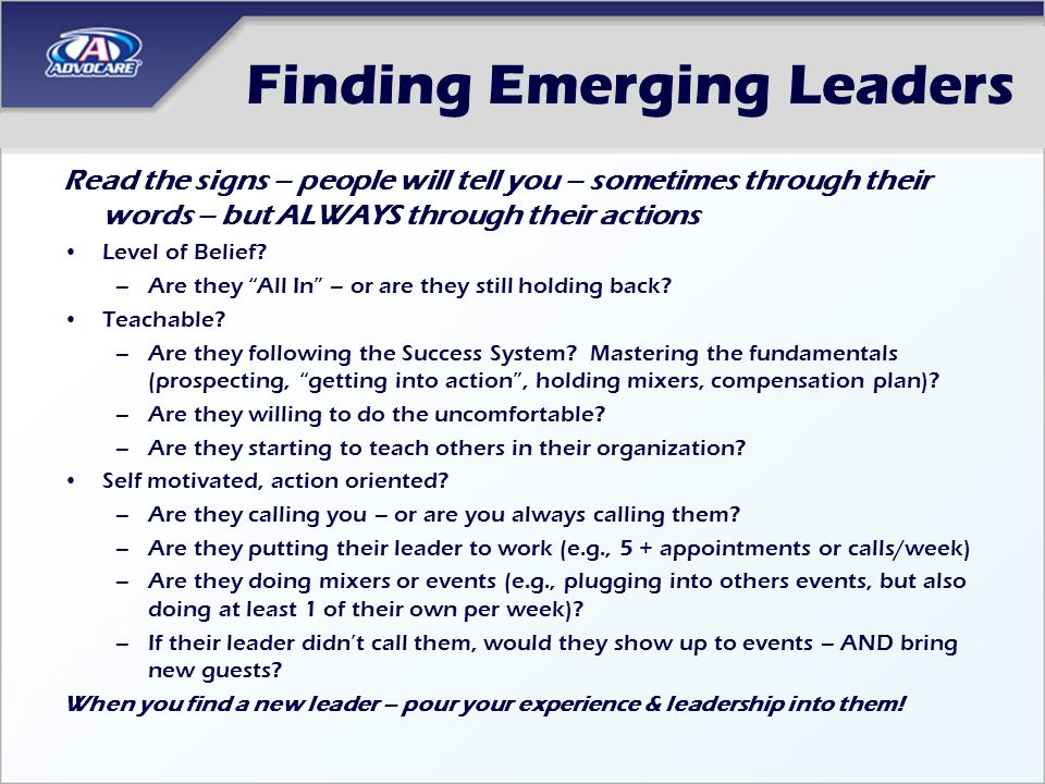 Finding Emerging Leaders