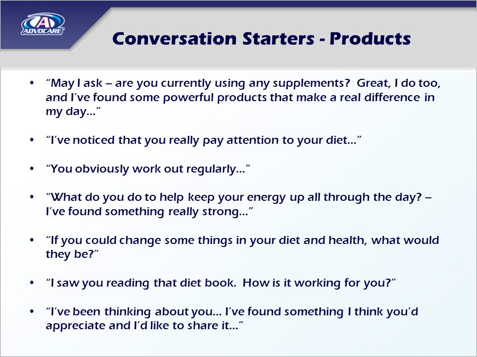 Conversation Starters - Products