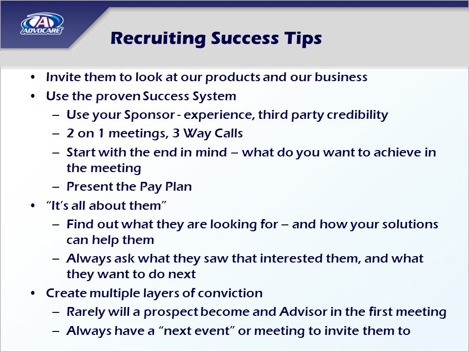 Recruiting Success Tips