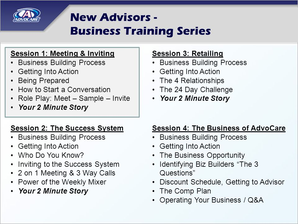 New Advisors - Business Training Series