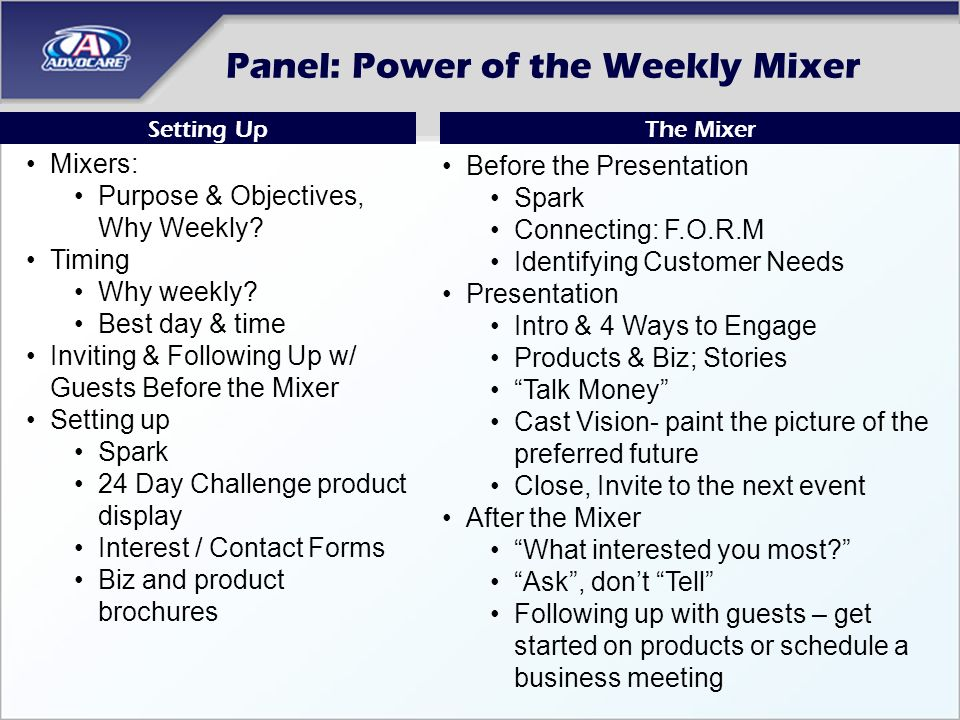 Panel: Power of the Weekly Mixer