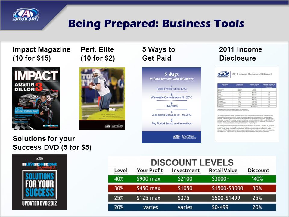 Being Prepared: Business Tools