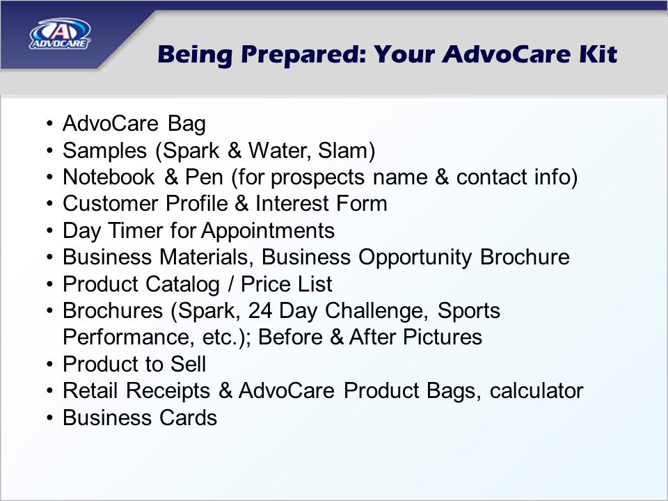 Being Prepared: Your AdvoCare Kit